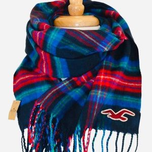 Hollister Blue Green Red Scarf